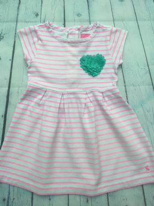 Joules pink and white stripe dress with applique heart detail age 4-5